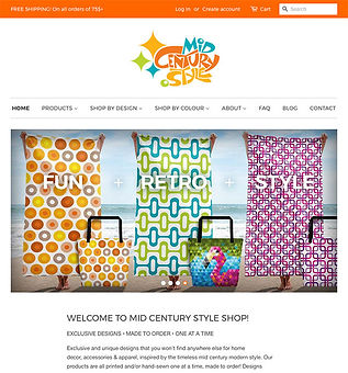 Mid Century Style Shop Website and Online Store Design and Production