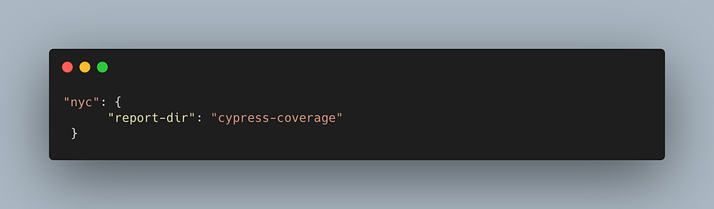 Code configuration to define the report directory for Cypress code coverage.