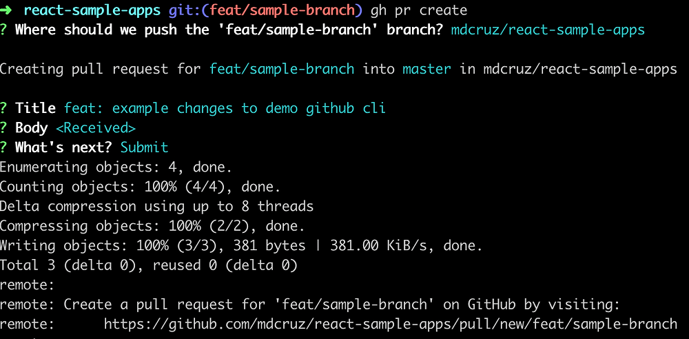 Running the command to create a new pull request with Github CLI straight from your terminal.
