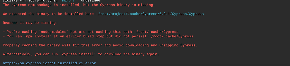 Error message from CircleCI build complaining that Cypress has been installed but the Cypress binary is missing