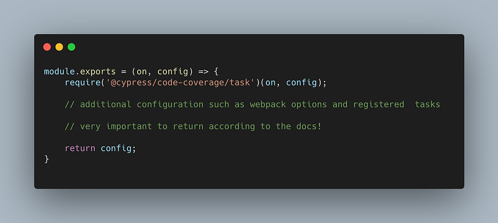 Code configuration needed to add to plugins/index.js file to load the code coverage task in Cypress.