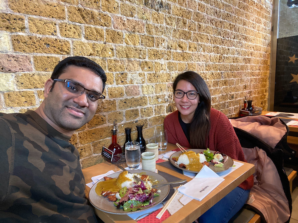 Giri and Marie having lunch at Wagamama