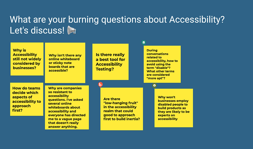 Screenshot of a Jamboard slide containing questions about accessibility on different post it notes.