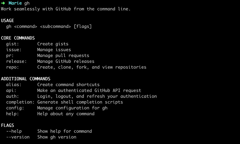 Output of running the command gh in your terminal