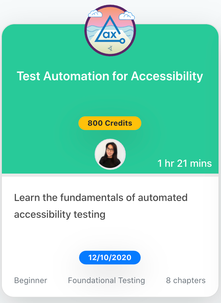 Thumbnail image for Test Automation for Accessibility course