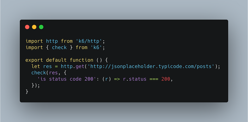 Code snippet showing how to write a simple test with k6.