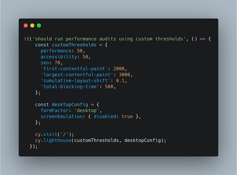 Code snippet of how to use the cy.lighthouse command with custom thresholds and configuration.