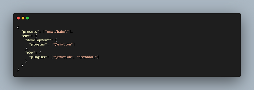 JSON file showing how to setup istanbul plugin to your babel file.