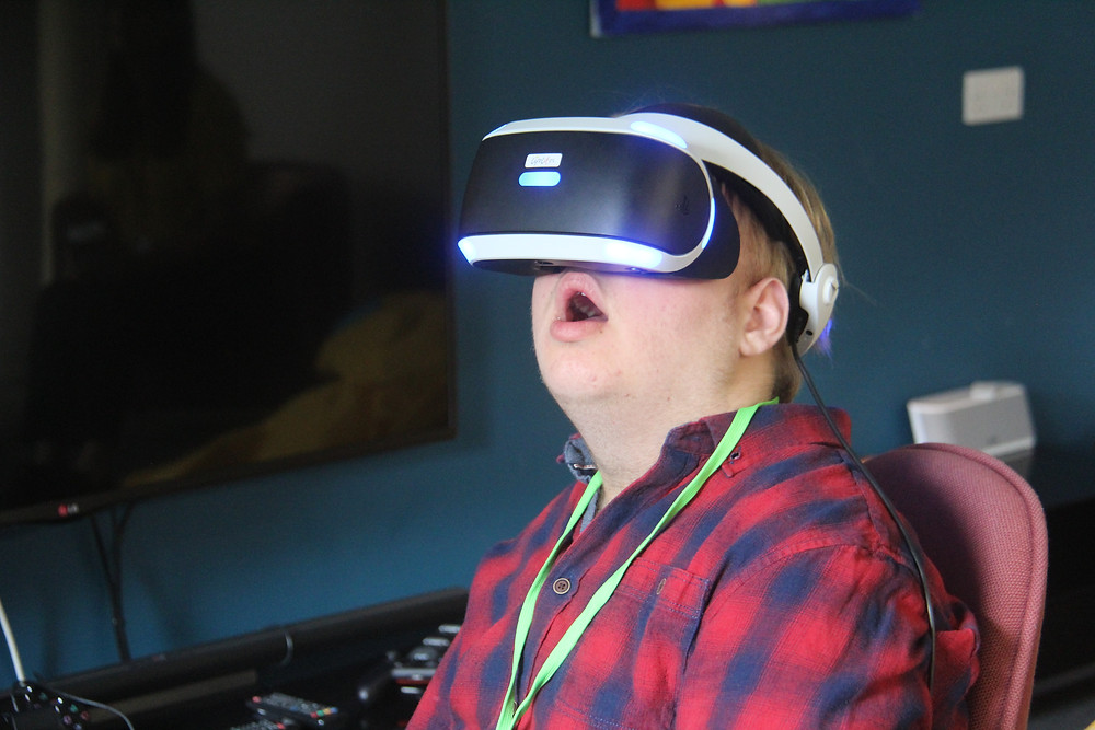 A patient wearing a virtual reality headset.