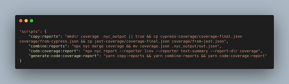 Code showing additional commands on package.json to generate combined reports.