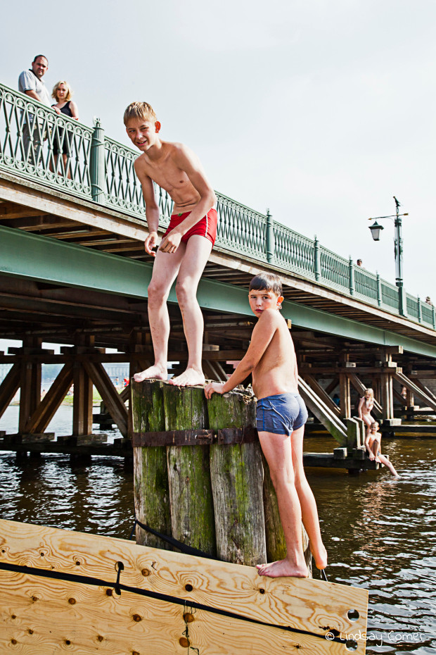 Wild Swimming in the river in summer, by Zayachiy Ostrov; Saint Petersburg, Russia.