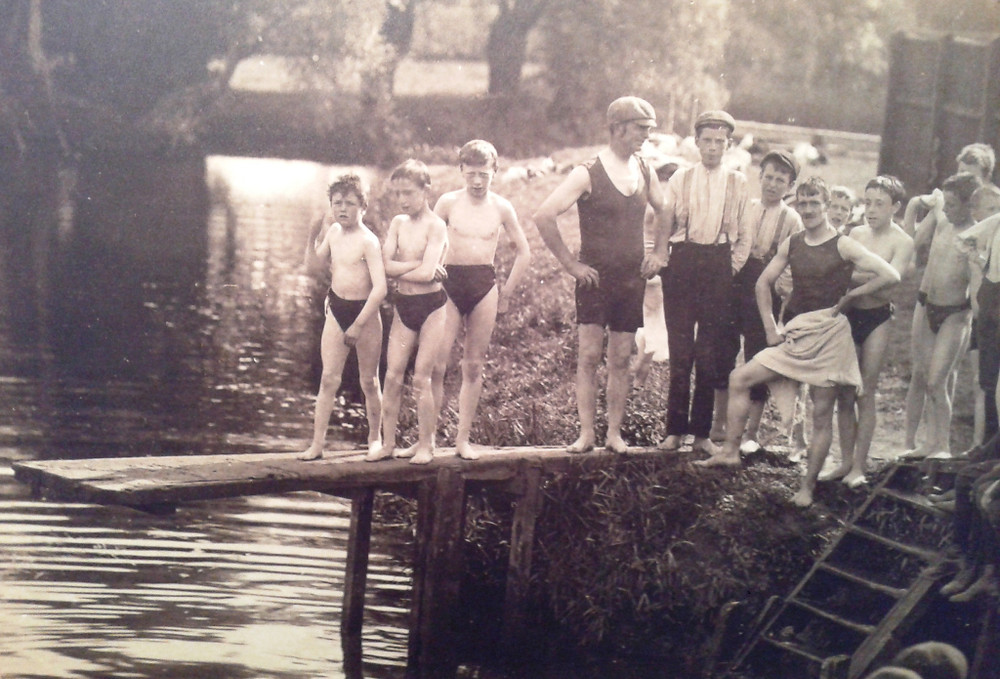 Boys Bathing and Swimming, Stamford Meadows Bathing Place