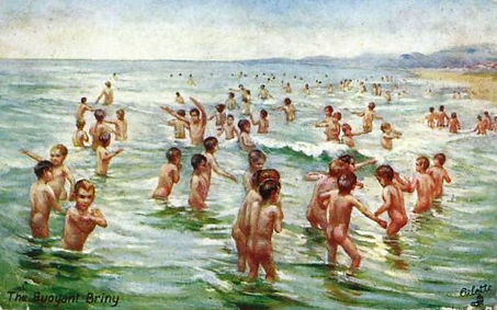 Naked sea bathing was commonplace and accepted before the sexual revolution.