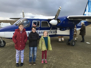 Three Children Travel by Plane to get to Swimming Lessons
