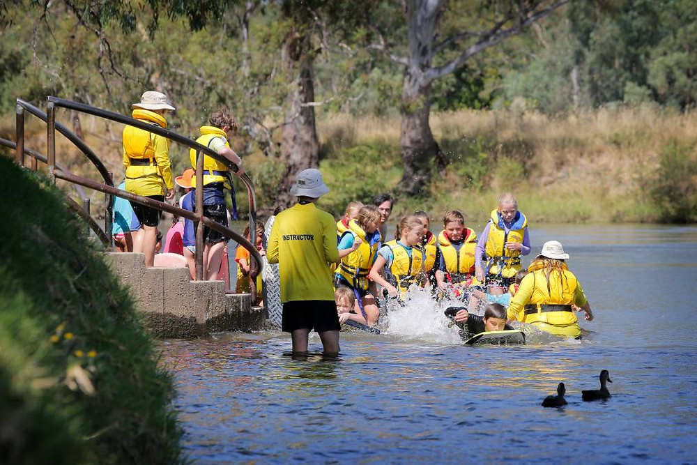 Yackandandah Primary School's Noah Jackson, 11, leads the pack as instructor Conor Keely conducts classes.