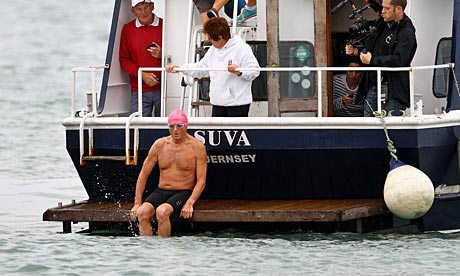 Roger Allsopp leaves Shakespeare beach in Dover, as he sets off to swim the English Channel.