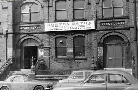 Gorton Baths and Wash Houses exterior, Manchester 1970