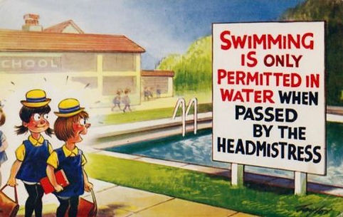 Comic postcard on Water quality at the swimming baths.