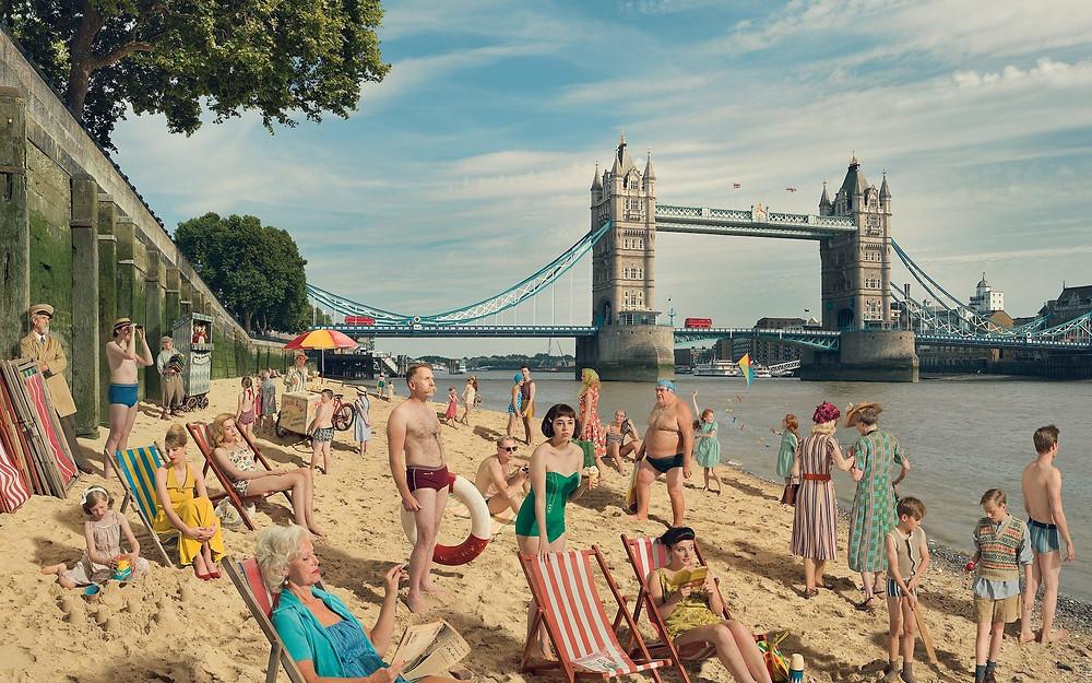 Thames Bathing Beach Tower Bridge