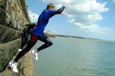 Youths seen tombstoning from Bridlington harbour wall