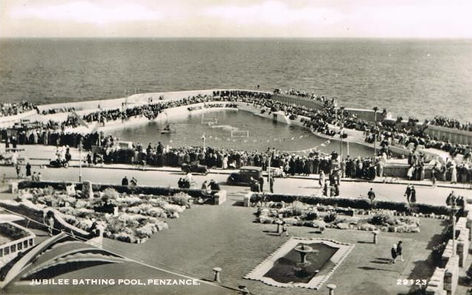 Jubilee Bathing Pool Penzance, notice the slide, diving board and water polo Wild Swimming History Cornwall