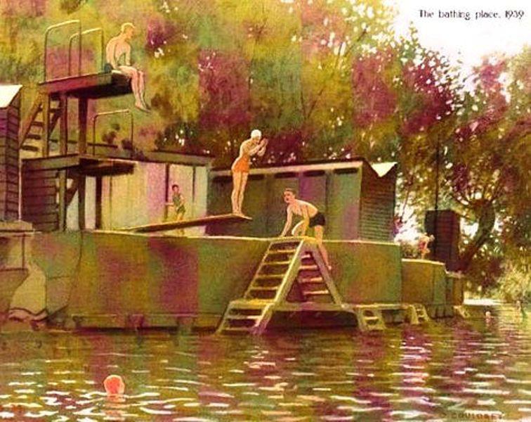 Wild Swimming at Abingdon Bathing Place 1939