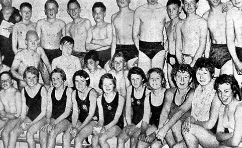 Youngsters from Grimsby schools who took part in the first ASA schools swimming proficiency awards trials at the Orwell Street Baths, Grimsby