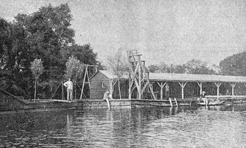 Bathing Place and Swimmers Sheds Sheep's Green Cambridge. Swimming History