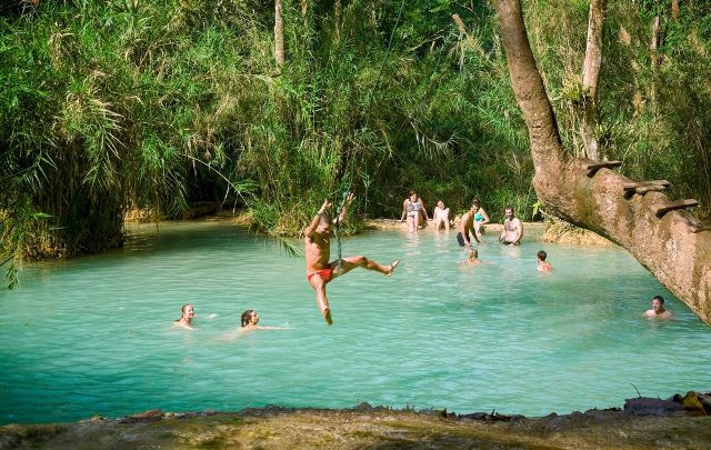 Wild Swimming Kouang Si Falls, Laos