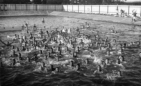 Boys swimming HMS St Vincent, Gosport, Hampshire