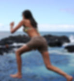 Young woman jumps into the sea at Garachico Tenerife