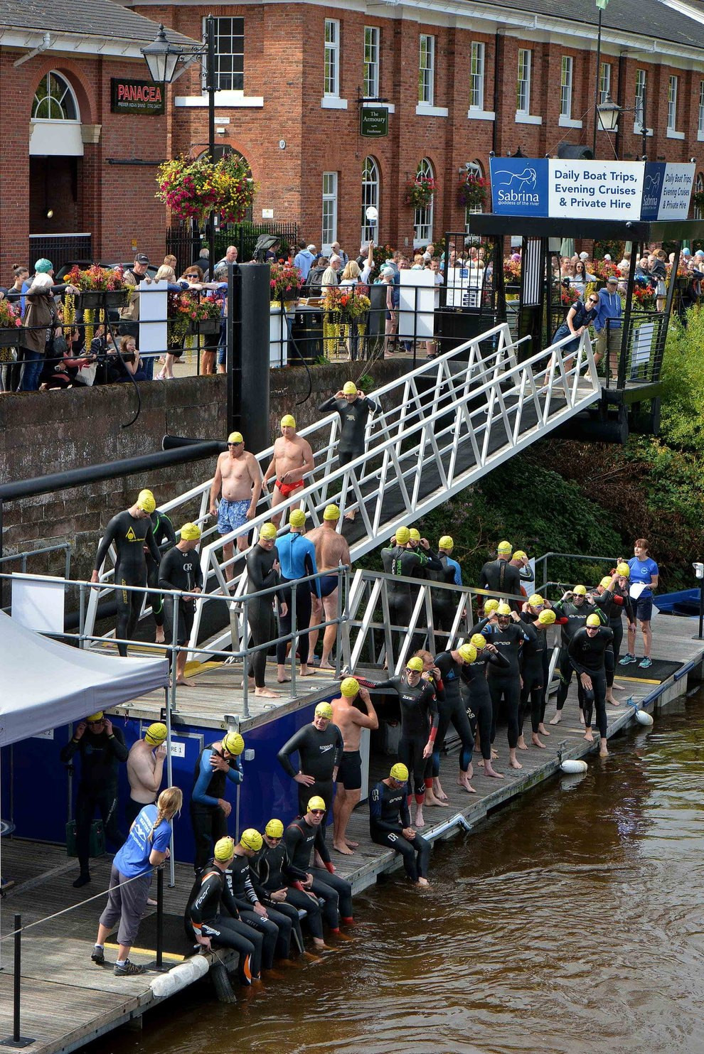 More than 140 swimmers took to the waters of the River Severn