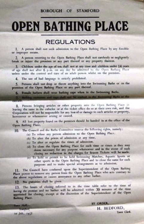 Open Bathing Place Regulations Stamford Swimming History