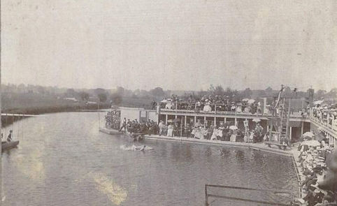 Bathing in River BusLea Welwyn Garden Cityy Arches 1890 Swimming History