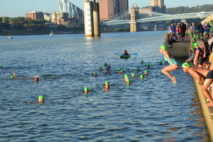 The Ohio River swimmers jump in the water at the upper end of the serpentine wall