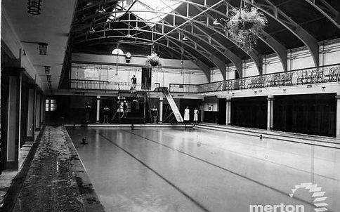 Public Swimming Bath Public Bath, Wimbledon. Latimer Road. London Swimming History