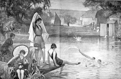 Pangbourne Bathing Place 1900 the weir pool