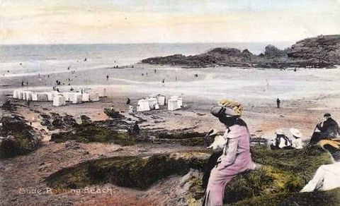 Swimming History Changing Tents on Bude Beach Cornwall