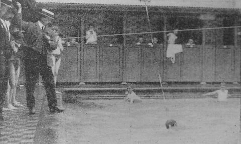 Swimming History London Apparatus for supporting pupils in use at Beckenham swimming baths