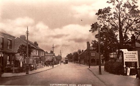 Lutterworth Road Aylestone with sign pointing to the Riverside resturant