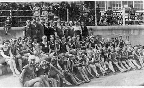 Members of a swimming club at the open air swimming pool At old Hartlepool.