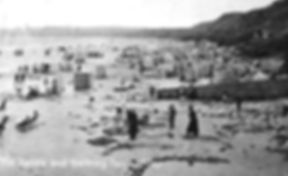 Bathing tents on the beach at Filey Swimming History