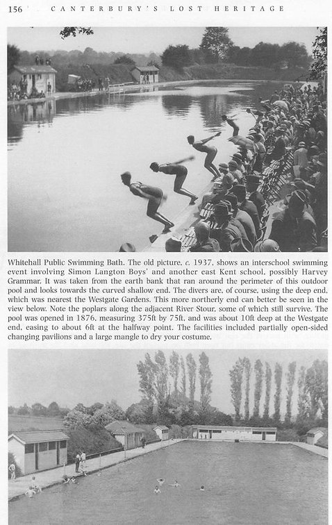 Photos of the pool in the 1930s, from 'Canterbury's Lost Heritage' by Paul Crampton