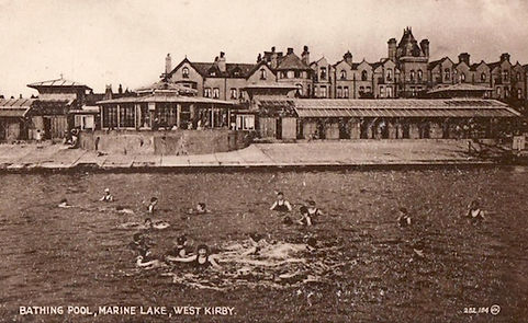 Bathing Pool - WEST KIRBY. ​  Shore Lake, Sea Front. Floating barges. Historic wild swimming venue.