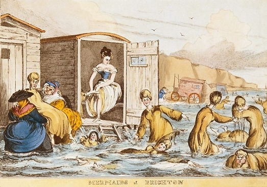 Bathing dresses were seen as essential to preserve the modesty of the well to do ladies at Brighton.