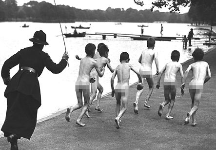British Culture, naked bathers chased away, Hyde Park London