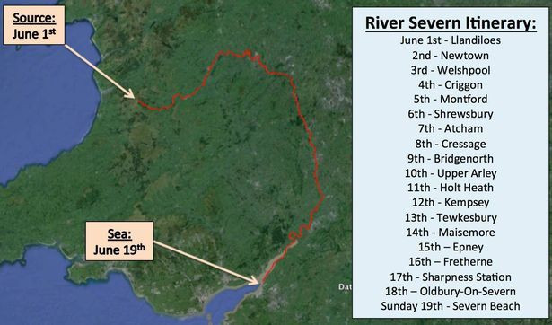 Ross O'Sullivan to Swim the Length of the Severn MAP