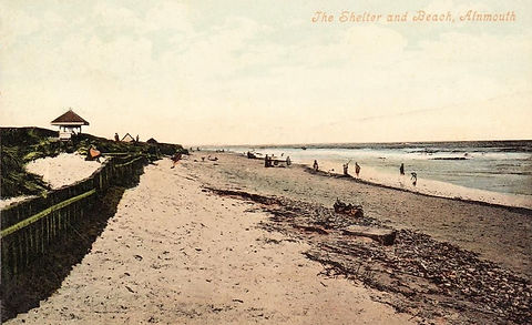 Alnmouth, the shelter and beach 1909 Swimming History