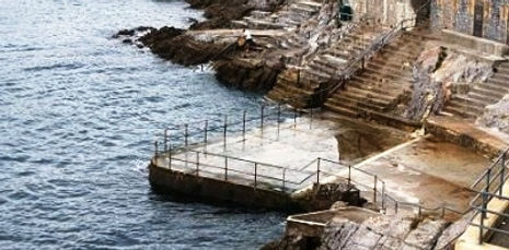 The two tidal swimming pools have been closed and filled with concrete.