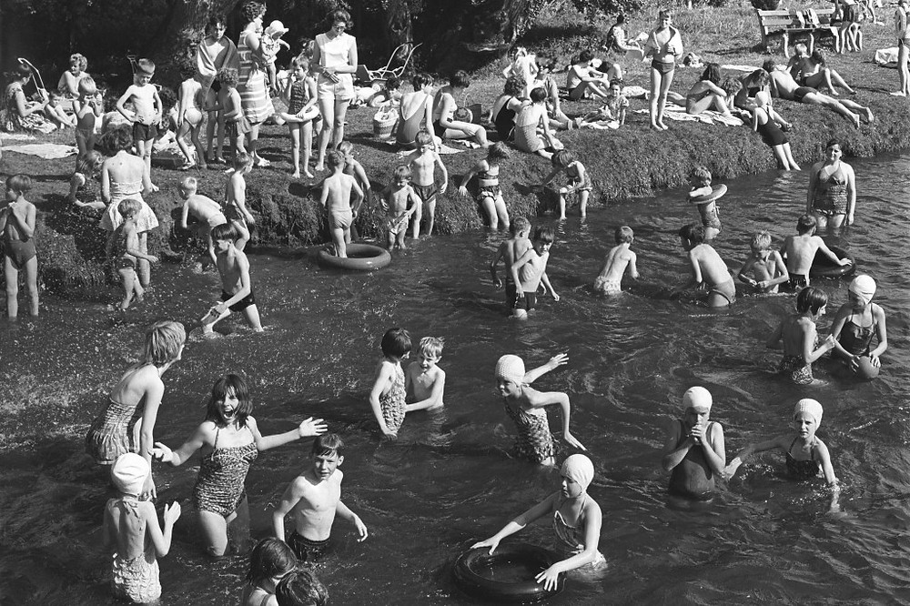 Children swimming in the river at Thetford, August 28, 1964